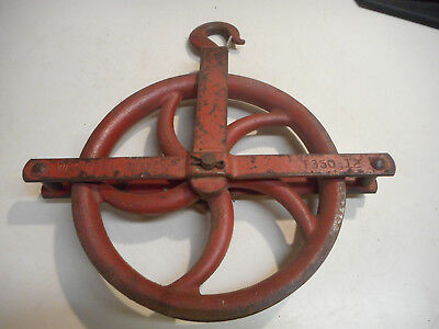 "L1993- Vintage Roofers  Barn Well Pulley 12"" Western T350-12 Block Sheave"