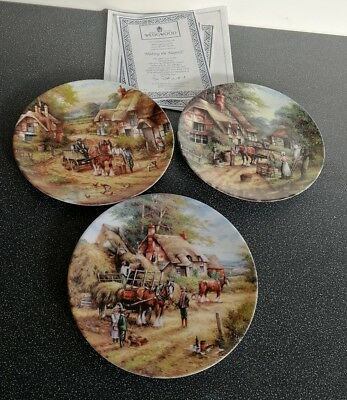 Wedgwood 3 Collectors Plates Country Days by Chris Howells with certificates