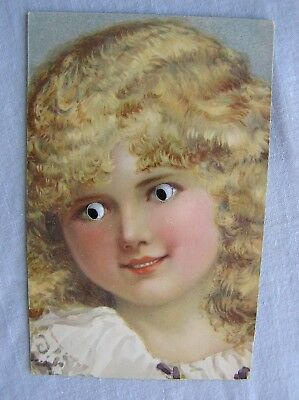"""NOVELTY POSTCARD - PRETTY YOUNG GIRL WITH """"REAL"""" EYES - c.1912"""