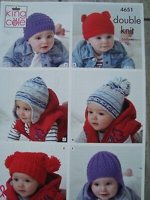 King Cole 4651 Baby/Child's Hats DK Knitting Pattern Age 6 Months- 7 Years