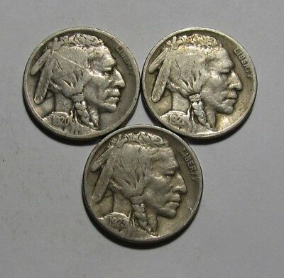 1920 1921 1923 Buffalo Nickel - Very Good to Fine Condition - 47SA