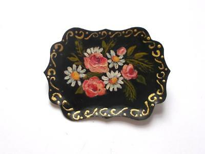 Vintage 1940's Hand Painted Rose Buds & Daisy Floral Style Tray Artisan Brooch