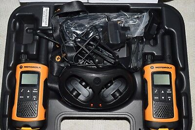 Motorola TLKR T80 Extreme Twin Walkie Talkie with case and accessories.