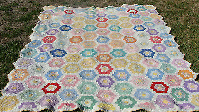 "Beautiful 1930s Flower Garden all hand quilted quilt, 92"" x 75""  *"