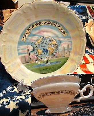 Lovely Pearled Iridescent Coffee Tea Cup & Saucer NEW YORK WORLDS FAIR 1964 1965