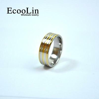1pc Gold Stainless Steel Ring Classic Design Jewelry Fashion Free Shipping BFP