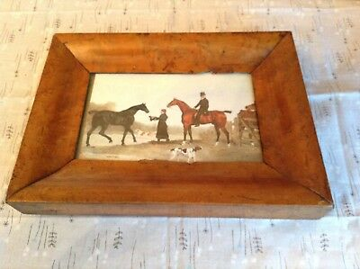 Antique / Vintage Walnut Wooden Picture Frame With Horse Hunting Print Postcard