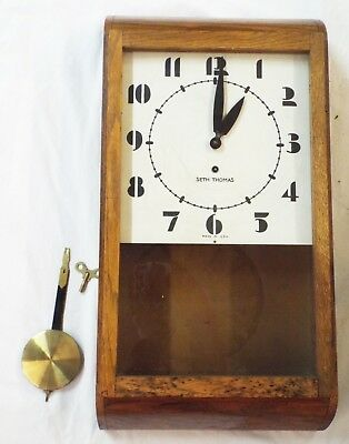 Old Antique ART DECO Oak SETH THOMAS Schoolhouse WALL CLOCK -RUNS-