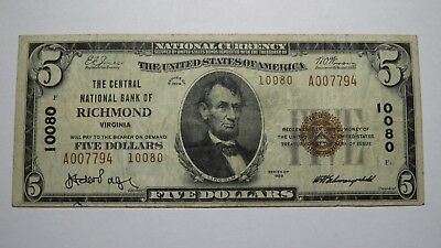 $5 1929 Richmond Virginia VA National Currency Bank Note Bill Ch. #10080 VF!