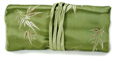 SILK JEWELRY TRAVEL BAG Roll Case Pouch Carrying Brocade Fabric Green Bamboo NEW