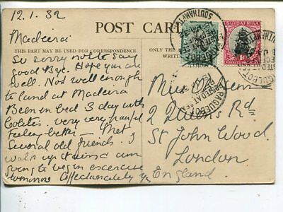 South Africa post card to Enfland, Southampton Paquebot 1932