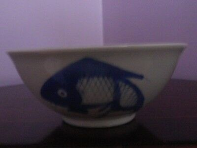 Fabulous Chinese Porcelain Blue & White Three Fish Design Bowl 13 Cms Diameter