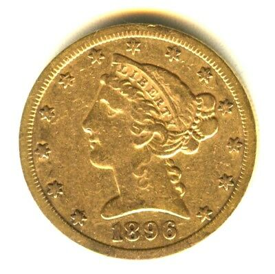1896 S Liberty Head Half Eagle XF Gold Type Coin San Francisco Mint Better Date