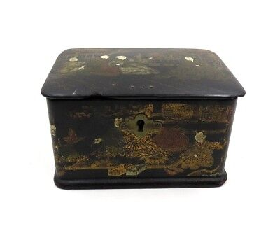 Vintage Asian Black Lacquer Tea Caddy AS IS