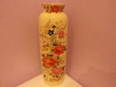Fabulous Vintage Japanese Porcelain Many Flowers Design Vase 24 Cms Tall