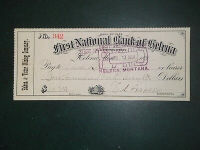 First National Bank of Helena. April 10, 1891. Helena, Mont.