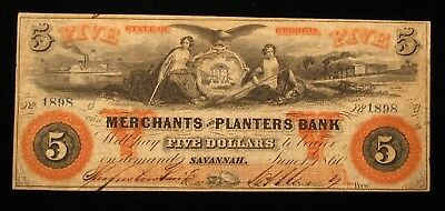 1860 $5 THE MERCHANTS And PLANTERS BANK GEORGIA OBSOLETE NOTE * US Paper Money