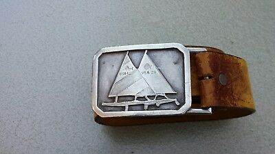 Vintage BHS Pewter sailboat Belt Buckle #34 Made in USA