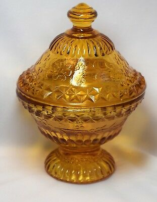 Vintage Degenhart Yellow Floral pattern Glass Footed Round Candy Dish with Lid