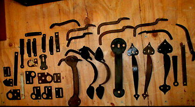 Large Lot of Old Thumb Latch Door Handles Hardware Parts Bars Keepers Strikes