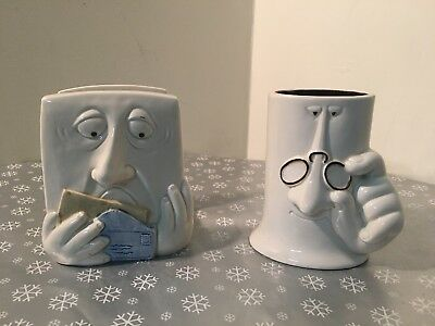 Rare Lot Fitz and Floyd Worried Man Face Bill Mail Holder and Eye Glasses Holder