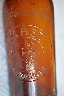 Rare Amber Embossed Pabst Brewing Co Beer Bottle Milwaukee  WOW!