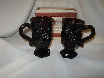 Two Vintage 1970's Avon Cape Cod Collection Ruby Red Pedestal Mugs With Box