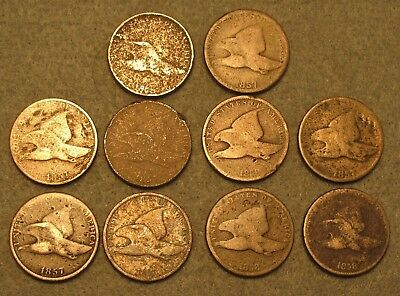 10 Piece 1857 & 1858 FLYING EAGLE PENNY US TYPE COIN LOT Average Circ Details