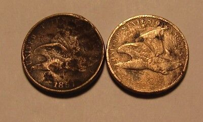 1857 & Dateless Flying Eagle Cent Penny - Mixed Condition - 33SA-2