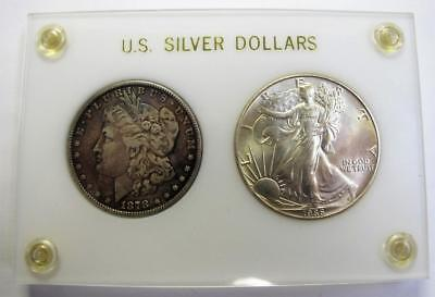 1878 First Morgan Dollar & 1986 First American Silver Eagle In Plastic Holder