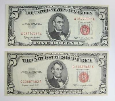 Series of 1953 and 1963 $5 U.S. Notes * Red Seal *  Crisp!  2 Notes Total *