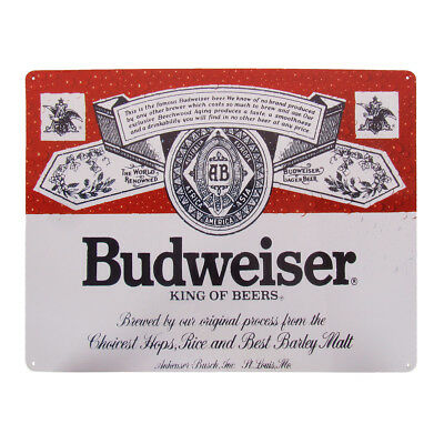 Vintage Style Tin Budweiser King of Beers Beer Sign Man Cave/Bar/Pub Wall Decor