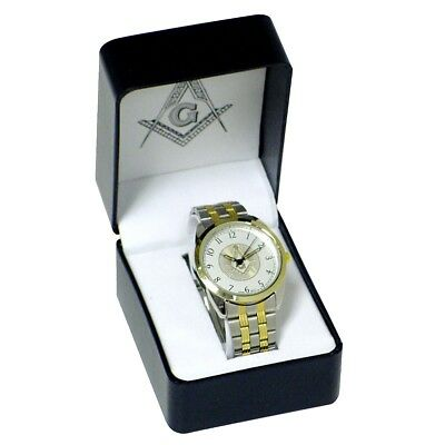 New Silver Tone Masonic Men's Wrist Watch Metal Band Mens Master Free Mason Gift