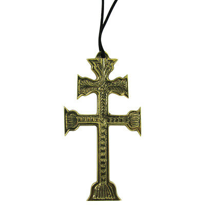 Large Bronze Embossed Double Cross of Lorraine Necklace Steampunk/Gothic Jewelry