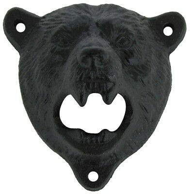 Cast Iron Wall Mount Grizzly Bear Beer/Soda Bottle Opener Pub/Lodge/Cabin Decor