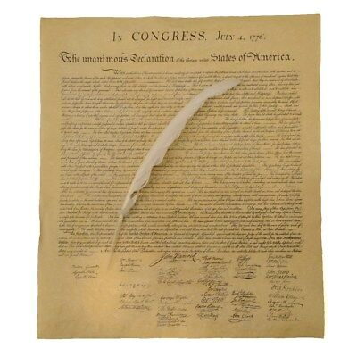 US Declaration of Independence Historical Document w/ Quill Writing Dip Ink Pen