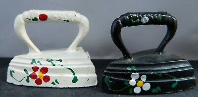 Vintage heavy Cast Metal Salt & Pepper Shakers Small Irons Hand Tole Painted
