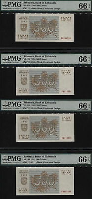 "Tt Pk 46 1993 Lithuania 500 Talonu ""wild Wolves"" Pmg 66 Epq Sequential Set Of 4!"