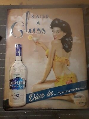 Vintage reproduction tin sign Raise a Glass for Deep Eddy Vodka Pinup Girl 16x20