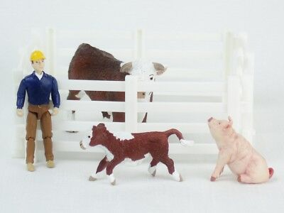 BREYER Stablemates FARM ANIMALS Rancher Cowboy HEREFORD BULL Calf PIG Fence