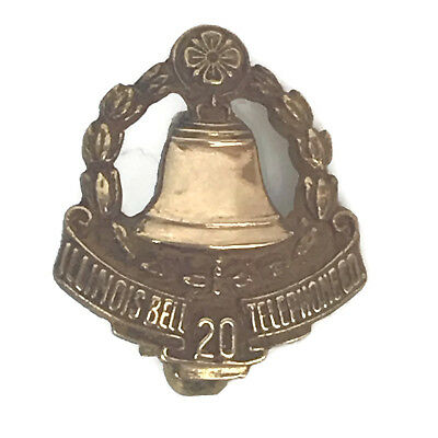 Vintage Illinois Bell Telephone Company 10K Gold 20 Years Of Service Lapel Pin