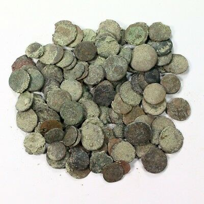 Uncleaned 100+ Lot of Ancient Roman and Greek Coins - Exact Lot Shown 3412