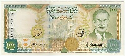 Syria 1000 Pounds 1997 Central Bank of Syria Banknote Pick: 111a In UNC.