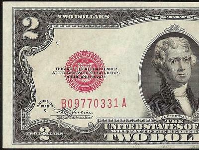 UNC 1928C $2 TWO DOLLAR BILL UNITED STATES LEGAL TENDER RED SEAL NOTE Fr 1504