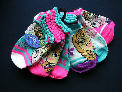 JUST IN Girl's 6 Prs Disney FROZEN Girl's NO SHOW SOCKS FITS SIZE 6 - 8 NWT
