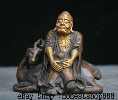 "5"" Old Chinese Purple Bronze Gild Buddhism Arhat lohan Buddha On Deer Sculpture"