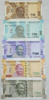 India Latest Release Set Of 5 Banknotes (10,50,100,200 & 500) In Unc