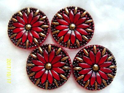 "REDUCED  CZECH GLASS BUTTONS (4 pcs) 1 3/16""- (32mm)  24K GOLD    XL 029"