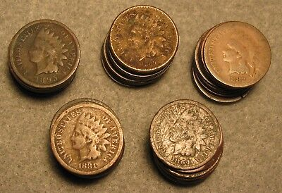50 Piece INDIAN HEAD PENNY US COIN LOT 1880's-1900's Average Circulated Details