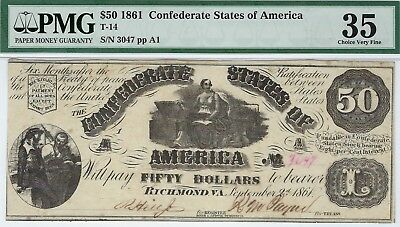 T-14 PF-6 $50 Confederate Paper Money 1861 - PMG Choice Very Fine 35!